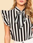 Tie Neck Ruffle Sleeve Striped Blouse | Amy's Cart Singapore