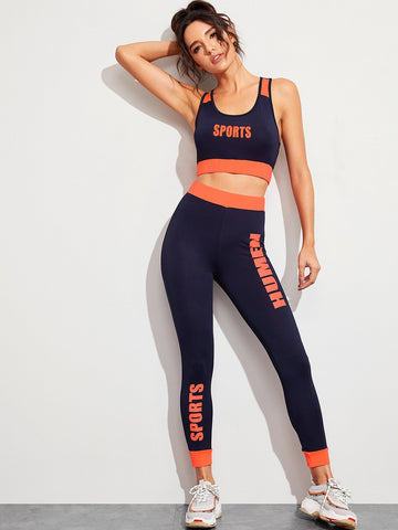 Letter Print Racer Back Sports Bra & Leggings Set | Amy's Cart Singapore