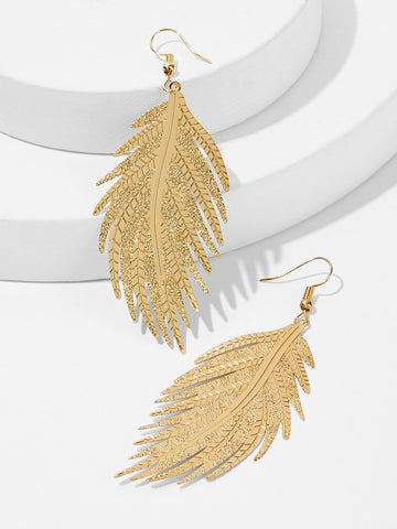 Feather Shaped Drop Earrings 1pair | Amy's Cart Singapore
