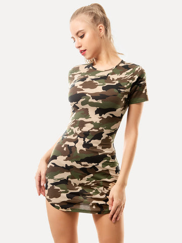 Camo Print Bodycon Utility Night Dress | Amy's Cart Singapore