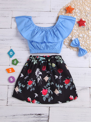 Toddler Girls Ruffle Top & Floral Print Skirt & Headband | Amy's Cart Singapore