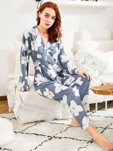 Florals Wrap Top & Pants Pj Set | Amy's Cart Singapore