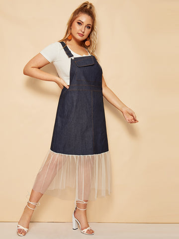 Plus Contrast Mesh Denim Pinafore Dress | Amy's Cart Singapore