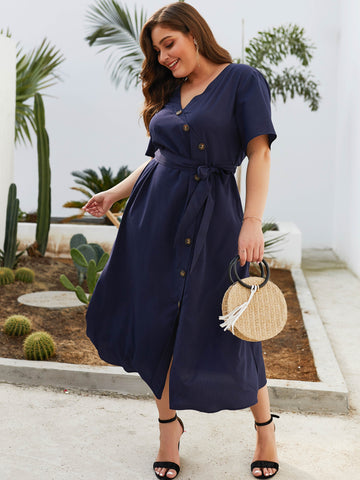 Plus Button Through Self Tie Dress | Amy's Cart Singapore