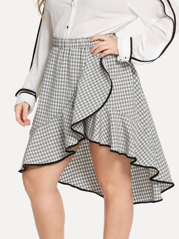 Plus Contrast Binding Flounce Gingham Skirt | Amy's Cart Singapore