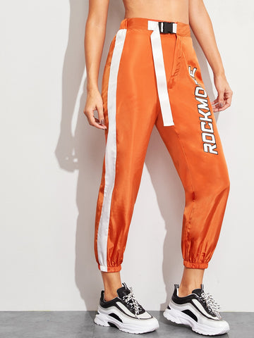Neon Orange Letter Print Tape Sweatpants | Amy's Cart Singapore