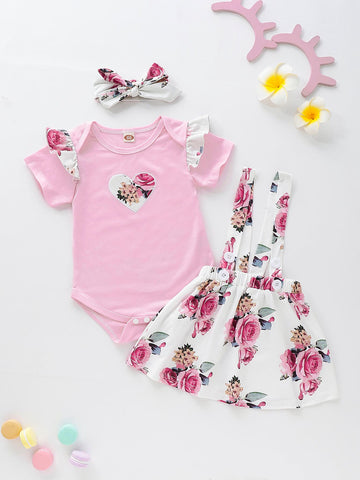 Baby Floral Print Ruffle Romper & Straps Skirt & Headband | Amy's Cart Singapore