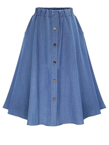 Plus Button Front Flared Denim Skirt | Amy's Cart Singapore