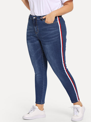 Plus Contrast Tape Side Bleach Wash Jeans | Amy's Cart Singapore