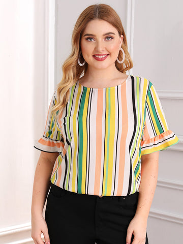 Plus Flounce Sleeve Striped Top | Amy's Cart Singapore