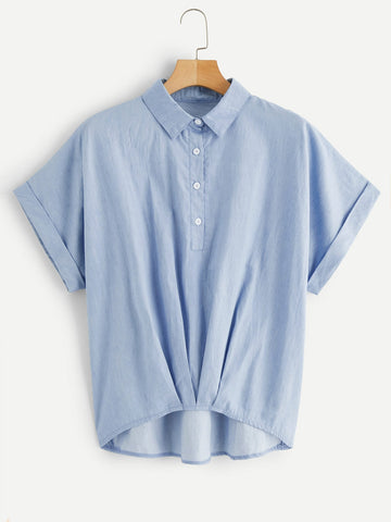 Plus Solid Curved Hem Denim Blouse | Amy's Cart Singapore