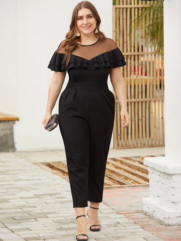Plus Contrast Mesh Ruffle Jumpsuit | Amy's Cart Singapore