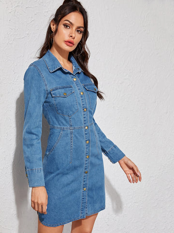 Bleach Wash Button Front Slit Side Denim Dress | Amy's Cart Singapore