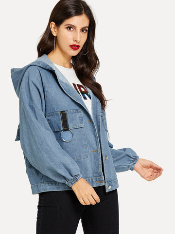 Embroidered Letter Denim Jacket | Amy's Cart Singapore