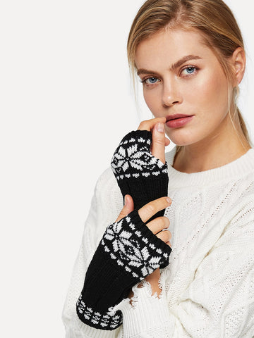 Knit Arm Warmer Fingerless Gloves 1pair | Amy's Cart Singapore