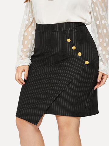 Plus Button Side Asymmetrical Hem Striped Skirt | Amy's Cart Singapore