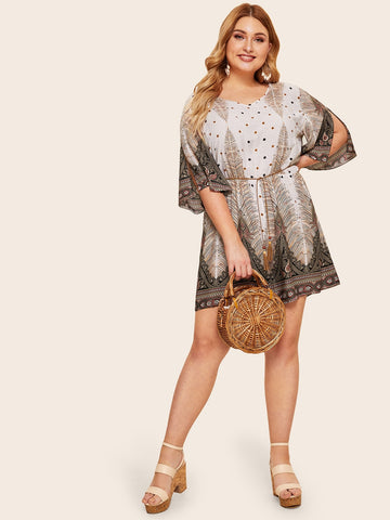 Plus Paisley Print Split Sleeve Romper | Amy's Cart Singapore