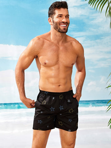 Men Star Print Elastic Waist Shorts | Amy's Cart Singapore
