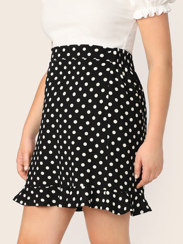 Plus Ruffle Hem Polka Dot Skirt | Amy's Cart Singapore