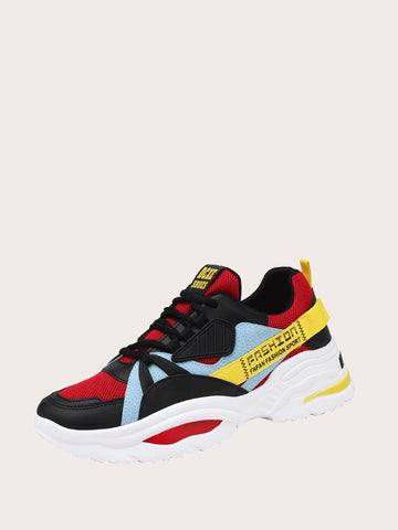 Men Color Block Chunky Sole Trainers | Amy's Cart Singapore