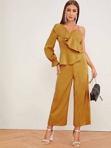 Ruffle Trim Asymmetrical Neck Jumpsuit | Amy's Cart Singapore