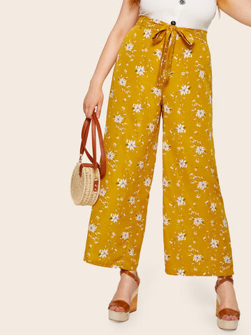 Plus Tie Front Floral Print Wide Leg Pants | Amy's Cart Singapore