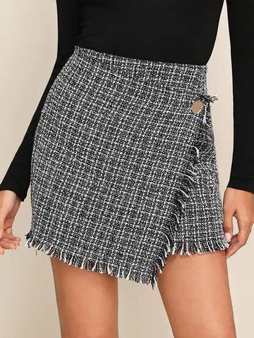 Raw Hem Detail Wrap Tweed Skirt | Amy's Cart Singapore
