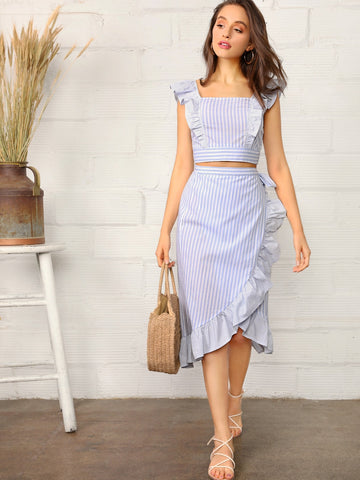 Striped Ruffle Trim Shirred Top & Wrap Knotted Skirt Set | Amy's Cart Singapore