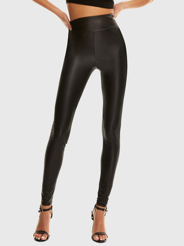Wide Waistband Leather Look Leggings | Amy's Cart Singapore