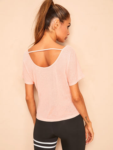 Strappy Scoop Back Short Sleeve Tee | Amy's Cart Singapore