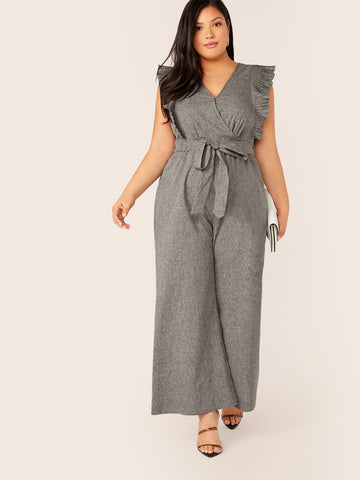 Plus Surplice Neck Pleated Ruffle Armhole Wide Leg Jumpsuit | Amy's Cart Singapore