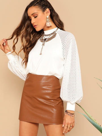 Mock Neck Eyelet Balloon Sleeve Top | Amy's Cart Singapore
