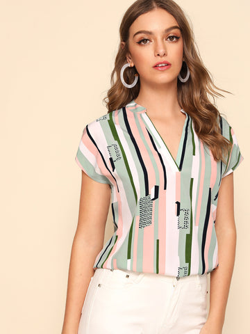 Notch Neck Batwing Sleeve Striped Top | Amy's Cart Singapore