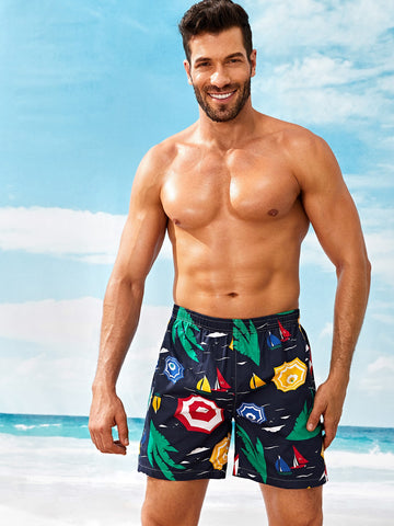 Men Umbrella Print Elastic Waist Shorts | Amy's Cart Singapore