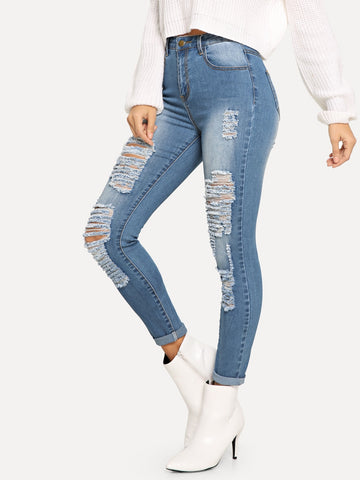 Ladder Distressed Jeans | Amy's Cart Singapore
