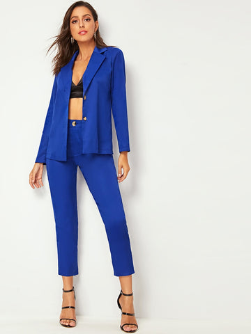 Double Button Notched Blazer With Tailored Pants | Amy's Cart Singapore