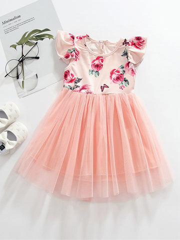 Toddler Girls Contrast Mesh Floral Print A-line Dress | Amy's Cart Singapore