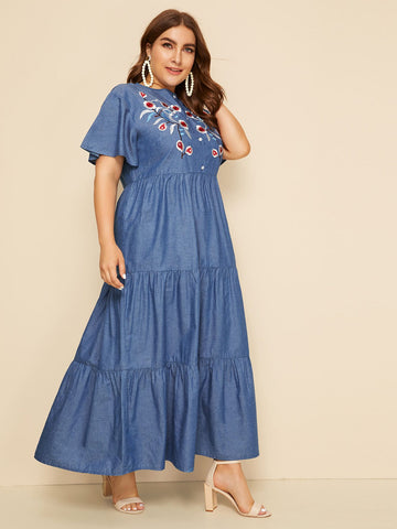 Plus Floral Embroidery Ruffle Hem Denim Dress | Amy's Cart Singapore