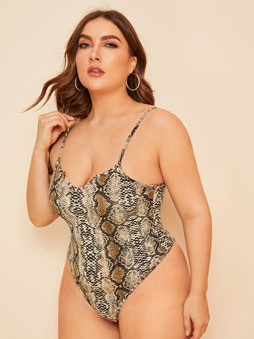 Plus Snakeskin Print Teddy Bodysuit | Amy's Cart Singapore