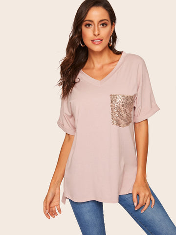 Contrast Sequin Pocket High Low Tee | Amy's Cart Singapore