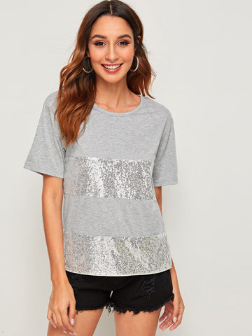 Sequin Insert Tee | Amy's Cart Singapore