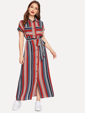 Colorful Striped Belted Hijab Shirt Dress | Amy's Cart Singapore
