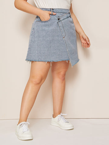 Plus Asymmetrical Hem Denim Skirt | Amy's Cart Singapore