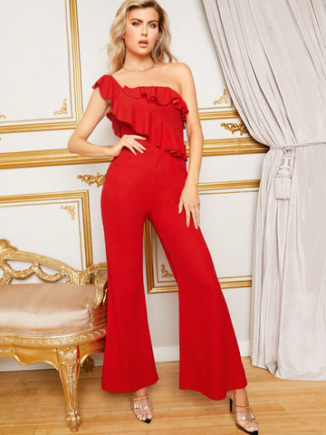 One Shoulder Ruffle Foldover Flare Leg Jumpsuit Without Belt | Amy's Cart Singapore