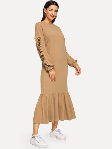 Ruffle Trim Solid Hijab Dress | Amy's Cart Singapore