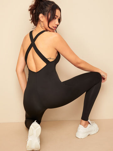 Crisscross Backless Unitard Jumpsuit | Amy's Cart Singapore