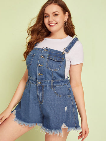 Plus Button Front Pocket Raw Hem Dungaree Shorts | Amy's Cart Singapore