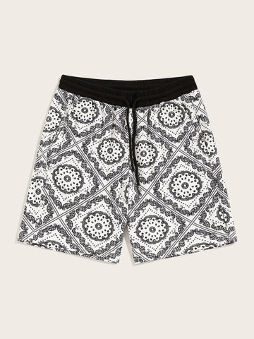 Men Drawstring Waist Aztec Print Shorts | Amy's Cart Singapore