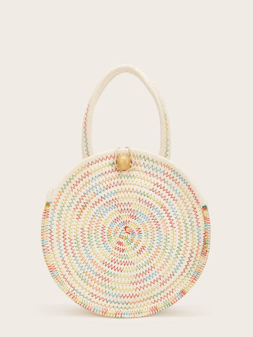 Ball Decor Weave Round Satchel Bag | Amy's Cart Singapore