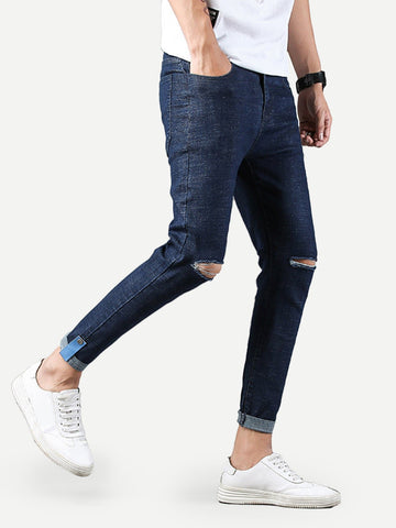 Men Plain Destroyed Skinny Jeans | Amy's Cart Singapore